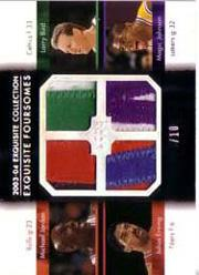 2003-04 Exquisite Collection Foursomes #JBEJ Michael Jordan/Larry Bird/Julius Erving/Magic Johnson