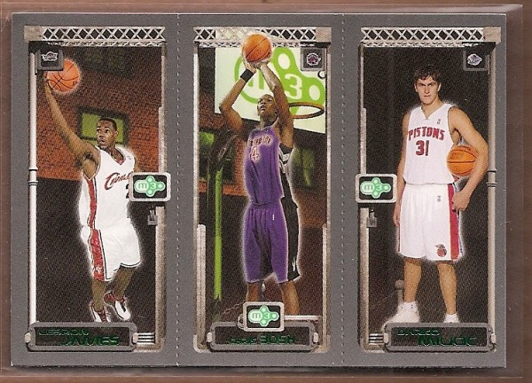 2003-04 Topps Rookie Matrix #JBM LeBron James 111 RC/Chris Bosh 114 RC/Darko Milicic 112 RC