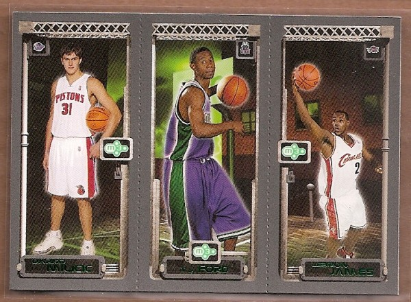 2003-04 Topps Rookie Matrix #MFJ Darko Milicic 112 RC/T.J. Ford 118 RC/LeBron James 111 RC
