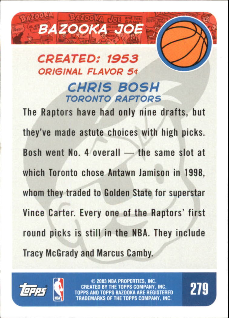 2003-04 Bazooka #279 Chris Bosh BAZ back image