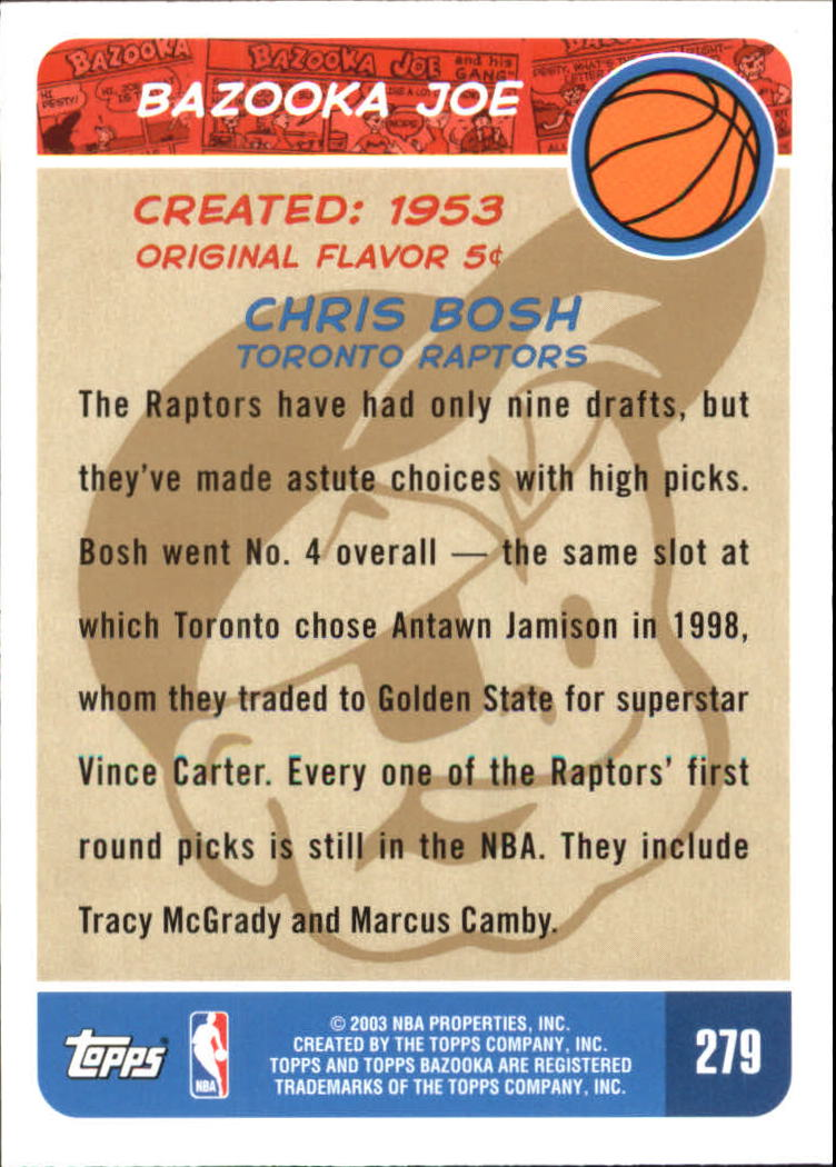 2003-04 Bazooka Parallel #279 Chris Bosh BAZ back image