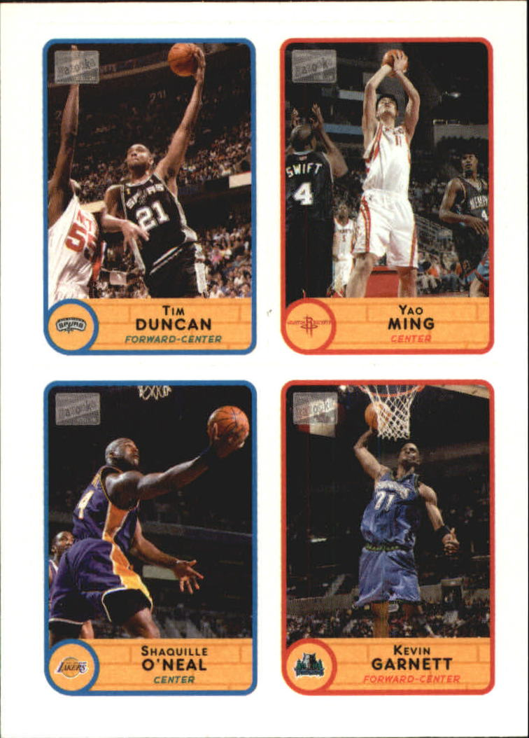 2003-04 Bazooka Four on One Stickers #1 Tim Duncan/Yao Ming/Shaquille O'Neal/Kevin Garnett