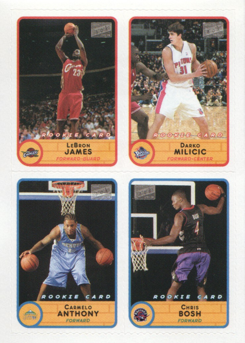 2003-04 Bazooka Four on One Stickers #50 LeBron James/Darko Milicic/Carmelo Anthony/Chris Bosh