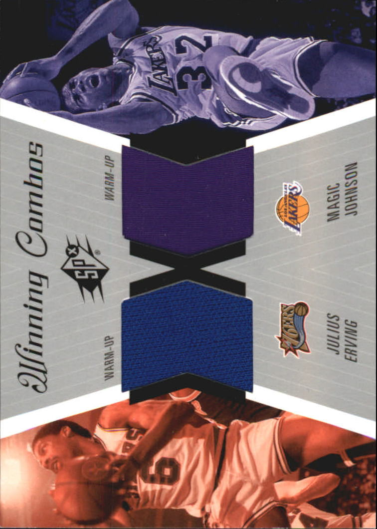 2003-04 SPx Winning Materials Combos #WC15 Julius Erving/Magic Johnson