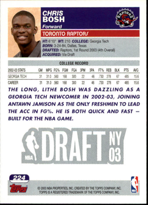 2003-04 Topps #224 Chris Bosh RC back image