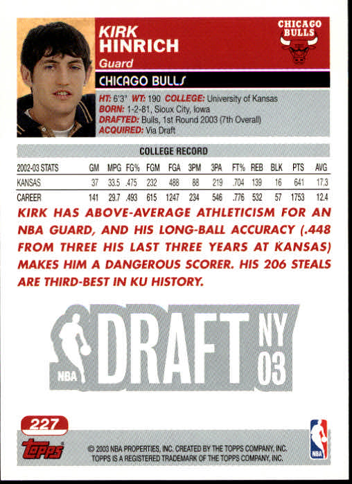 2003-04 Topps #227 Kirk Hinrich RC back image