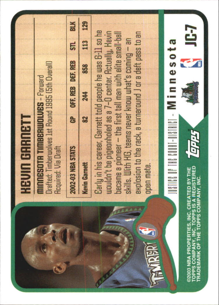 2003-04 Topps Justice of the Court #JC7 Kevin Garnett back image