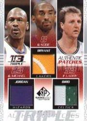 2003-04 SP Game Used Authentic Patches Triple #6 Michael Jordan/Kobe Bryant/Larry Bird