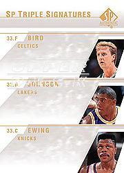 2003-04 SP Authentic Signatures Triple #BJE Larry Bird/Magic Johnson/Patrick Ewing