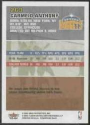 2003-04 Fleer Tradition #263 Carmelo Anthony RC back image