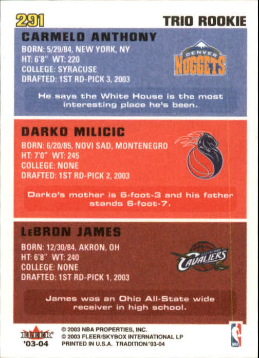 2003-04 Fleer Tradition #291 LeBron James RC/Darko Milicic RC/Carmelo Anthony RC back image