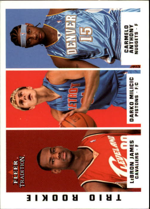 2003-04 Fleer Tradition #291 LeBron James RC/Darko Milicic RC/Carmelo Anthony RC front image