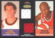 2003-04 Fleer Tradition Throwback Threads Dual Event Worn #LWTO Luke Walton/Travis Outlaw