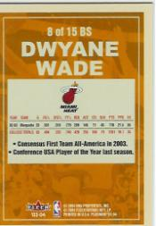 2003-04 Fleer Platinum Big Signs #8 Dwyane Wade back image