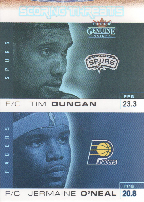 2003-04 Fleer Genuine Insider Scoring Threats #10 Tim Duncan/Jermaine O'Neal