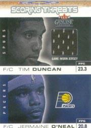 2003-04 Fleer Genuine Insider Scoring Threats Game Used #10 Tim Duncan Jersey/Jermaine O'Neal