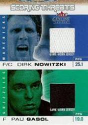 2003-04 Fleer Genuine Insider Scoring Threats Game Used Dual #5 Dirk Nowitzki/Pau Gasol