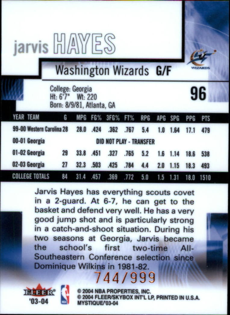 2003-04 Fleer Mystique #96 Jarvis Hayes RC back image