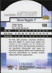 2003-04 Fleer Mystique Die Cut #108 Carmelo Anthony back image