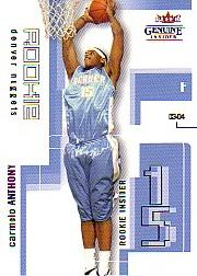 2003-04 Fleer Genuine Insider #101 Carmelo Anthony RC