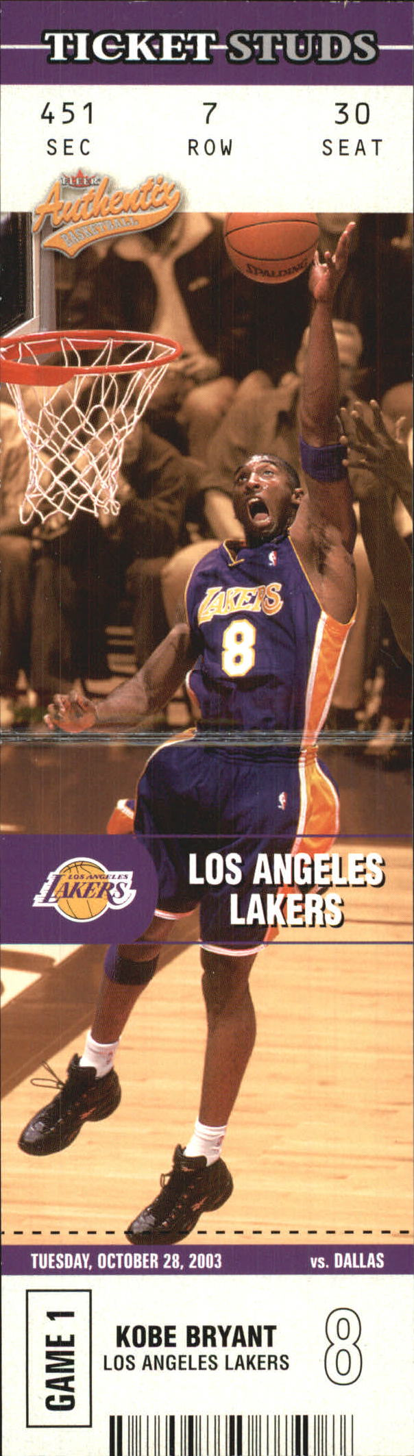 2003-04 Fleer Authentix Ticket Studs #6 Kobe Bryant