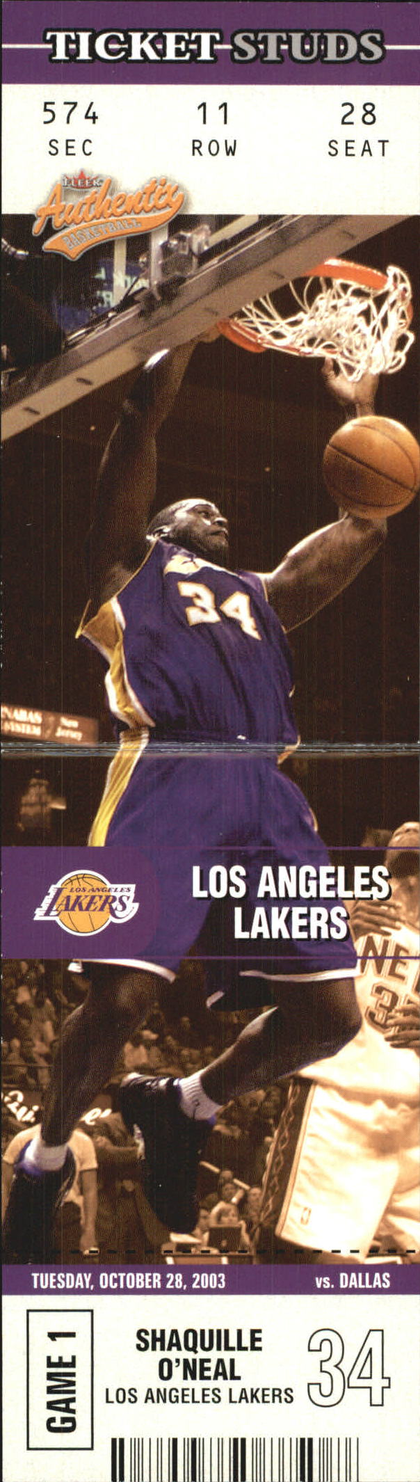 2003-04 Fleer Authentix Ticket Studs #8 Shaquille O'Neal