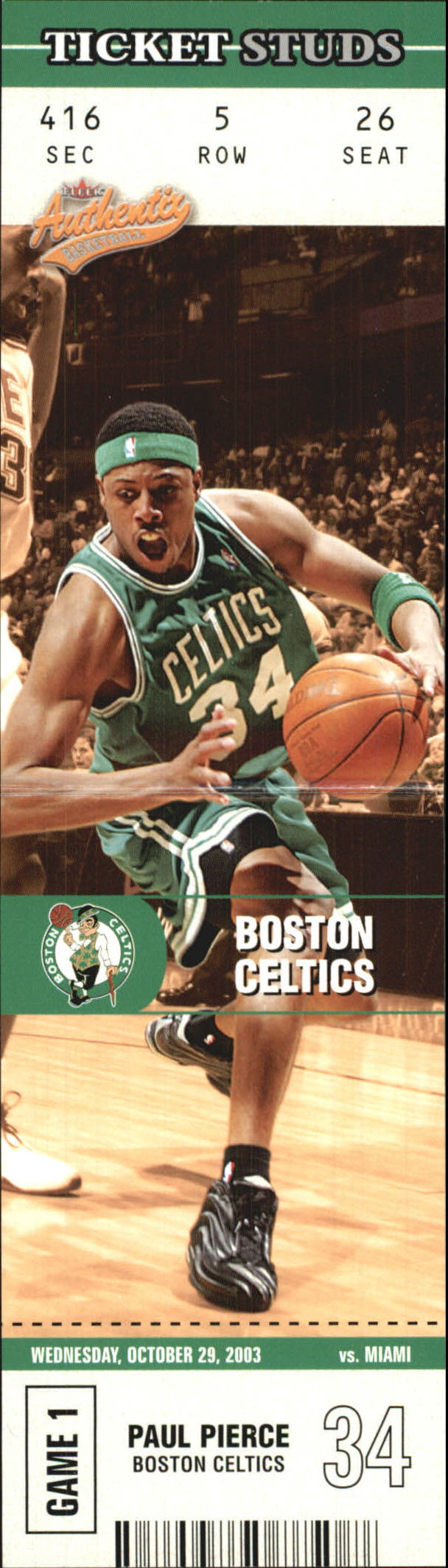 2003-04 Fleer Authentix Ticket Studs #11 Paul Pierce