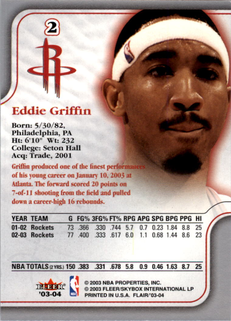 2003-04 Flair #2 Eddie Griffin back image