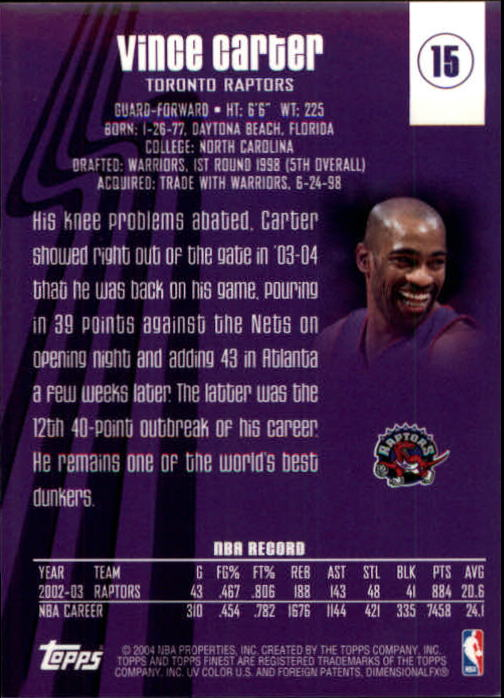2003-04 Finest #15 Vince Carter back image