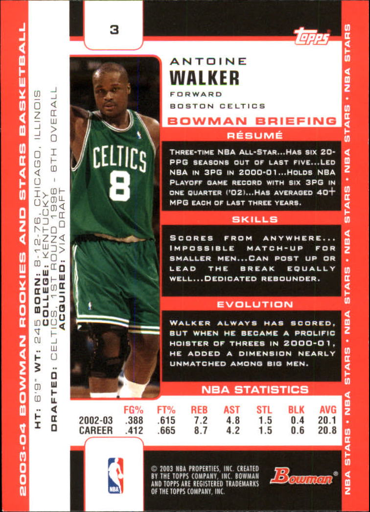 2003-04 Bowman #3 Antoine Walker back image
