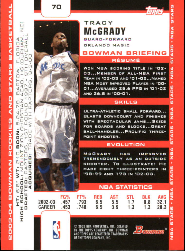2003-04 Bowman #70 Tracy McGrady back image