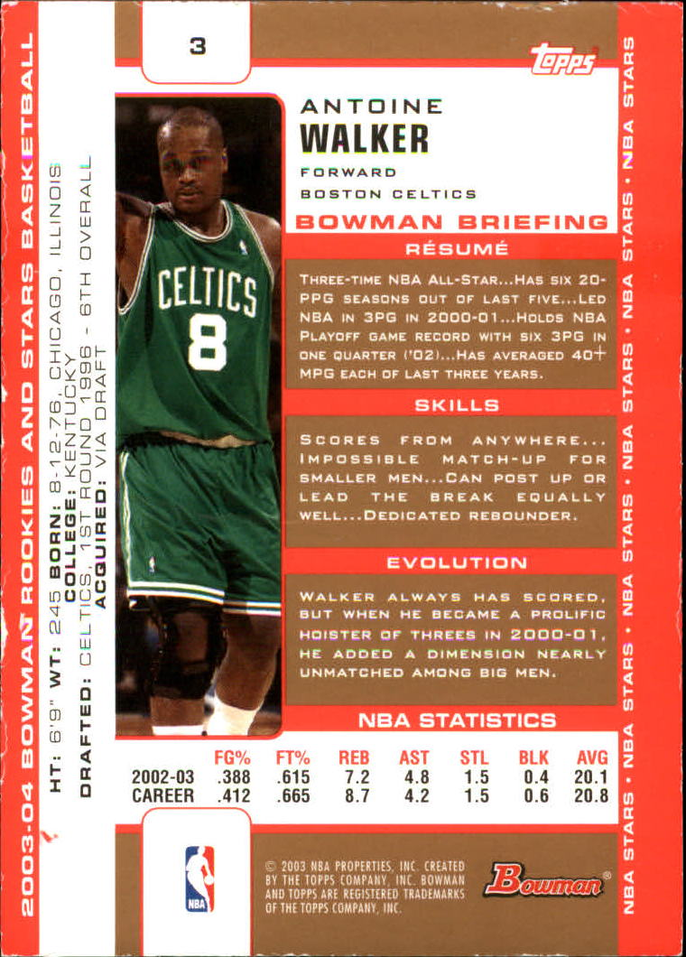 2003-04 Bowman Gold #3 Antoine Walker back image