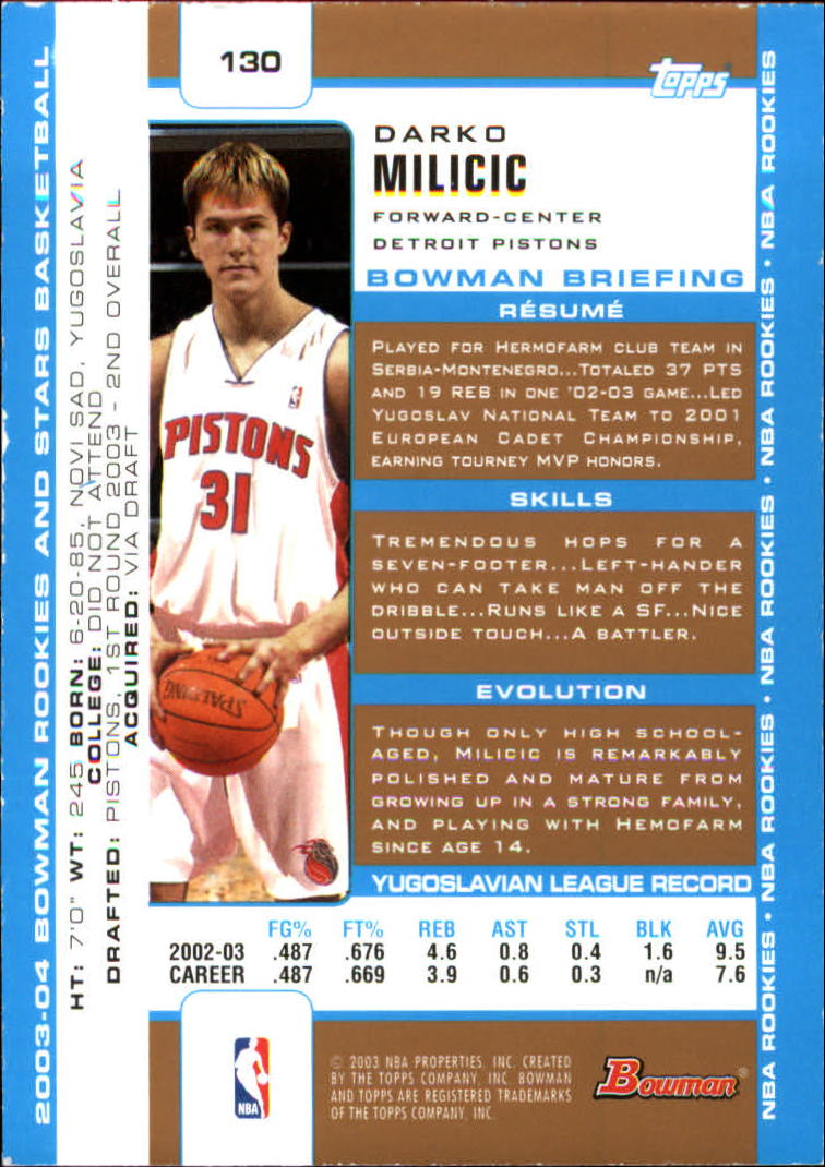 2003-04 Bowman Gold #130 Darko Milicic back image