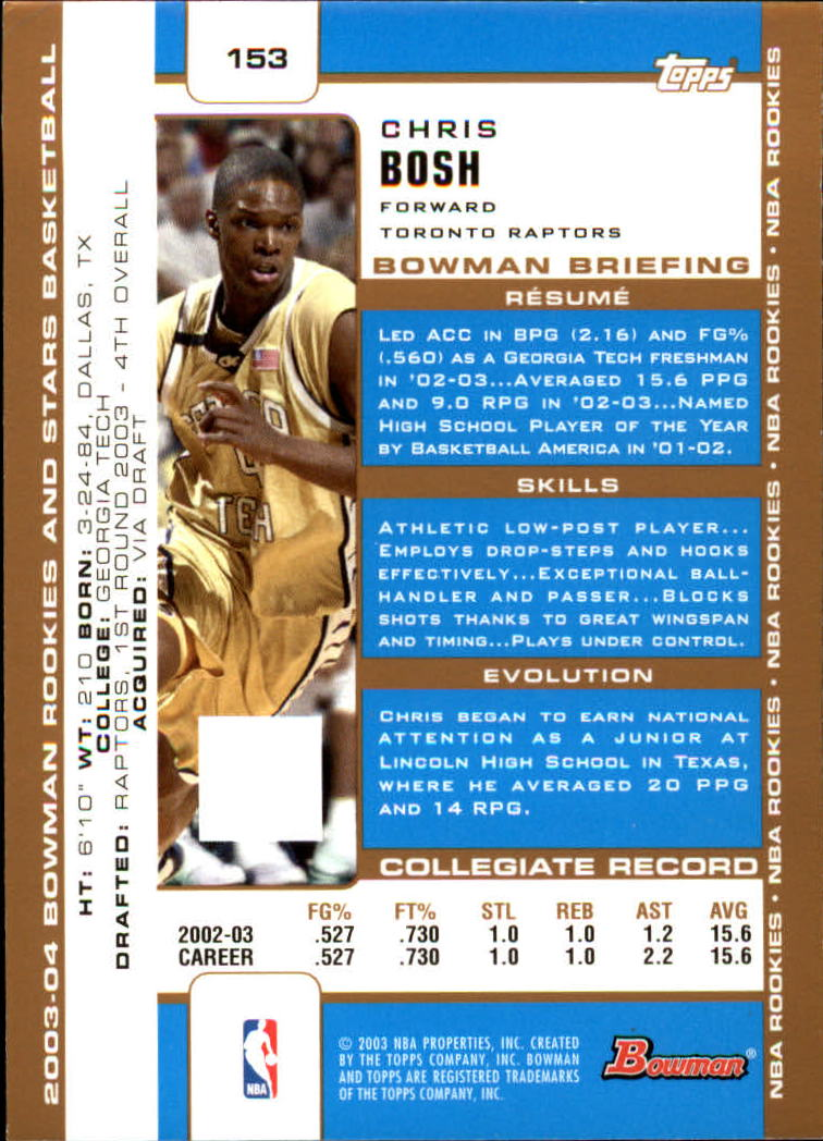 2003-04 Bowman Gold #153 Chris Bosh back image