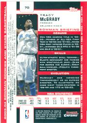 2003-04 Bowman Chrome #70 Tracy McGrady back image