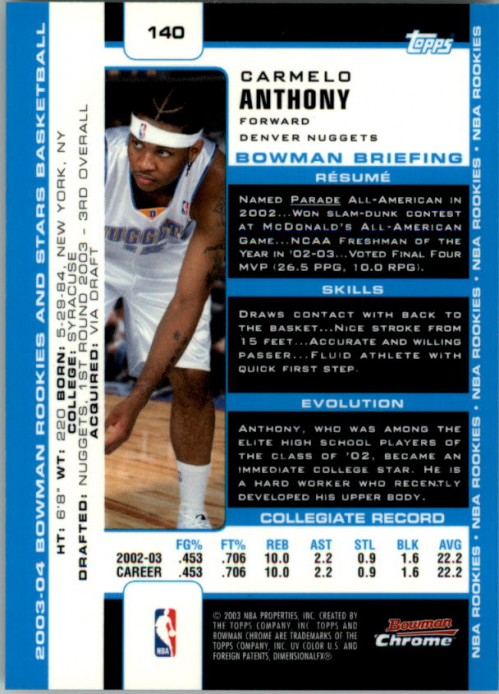 2003-04 Bowman Chrome #140 Carmelo Anthony RC back image