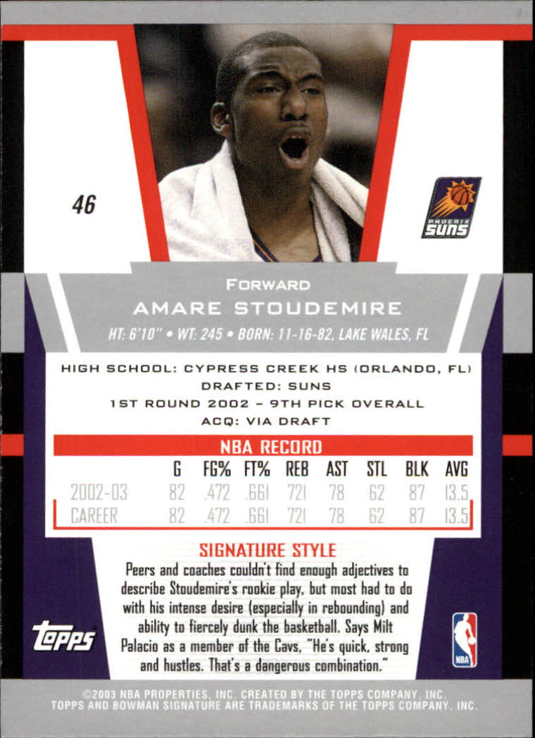 2003-04 Bowman Signature Edition #46 Amare Stoudemire back image
