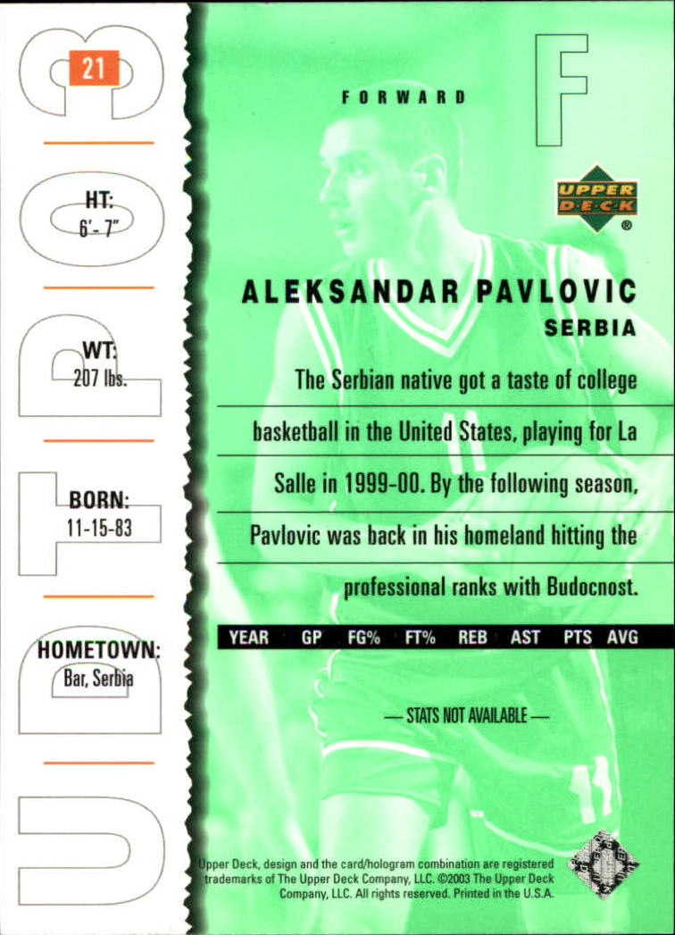 2003-04 UD Top Prospects #21 Aleksandar Pavlovic back image
