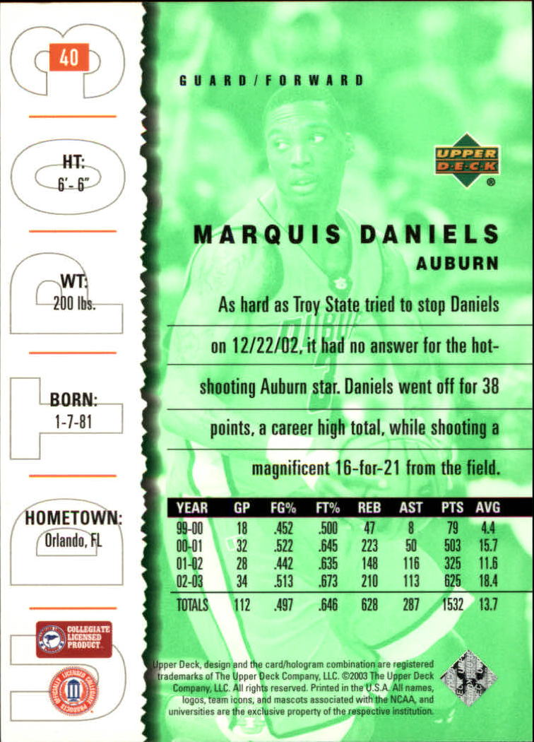 2003-04 UD Top Prospects #40 Marquis Daniels back image