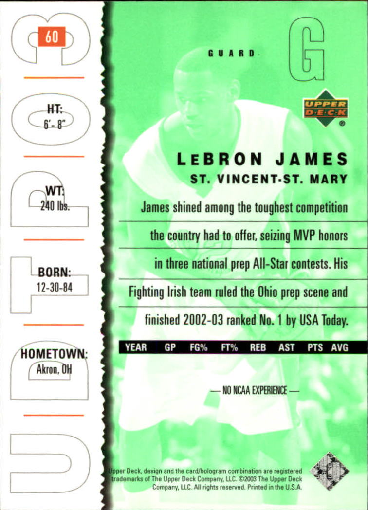 2003-04 UD Top Prospects #60 LeBron James back image