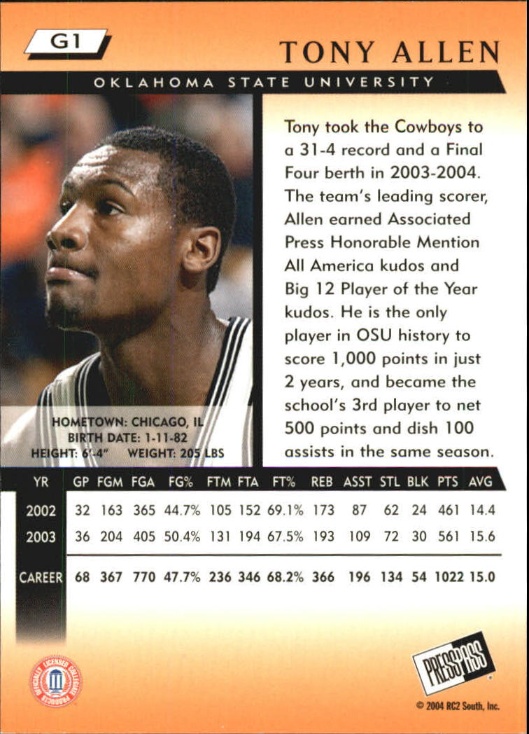 2004 Press Pass Gold #1 Tony Allen back image