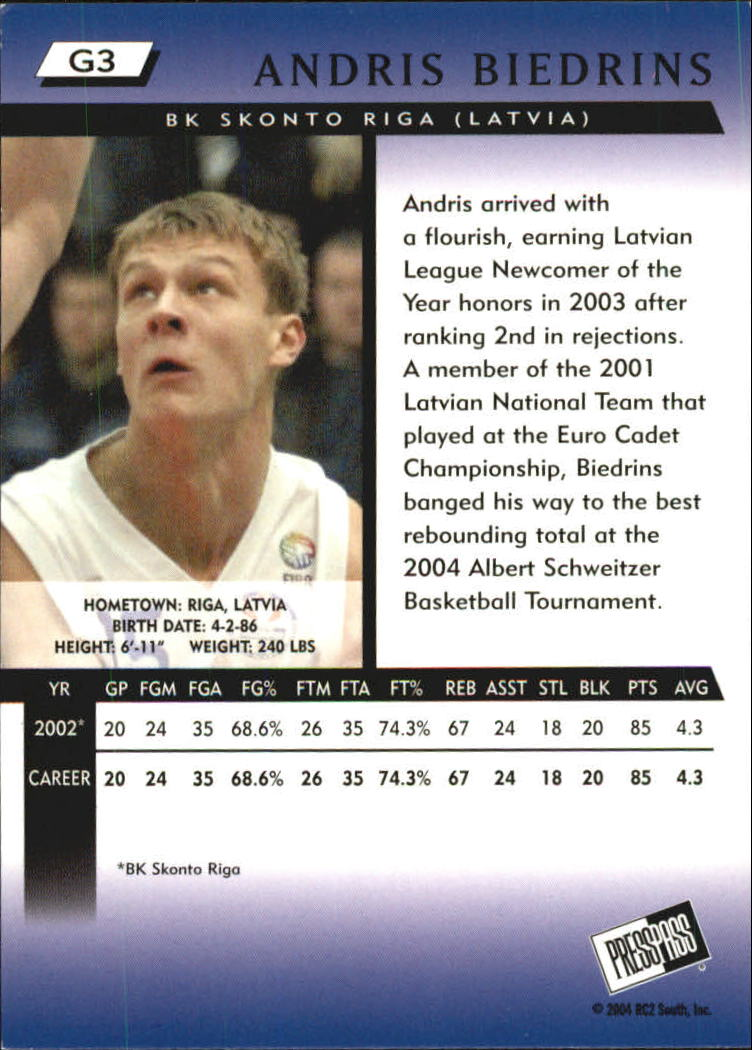 2004 Press Pass Gold #3 Andris Biedrins back image
