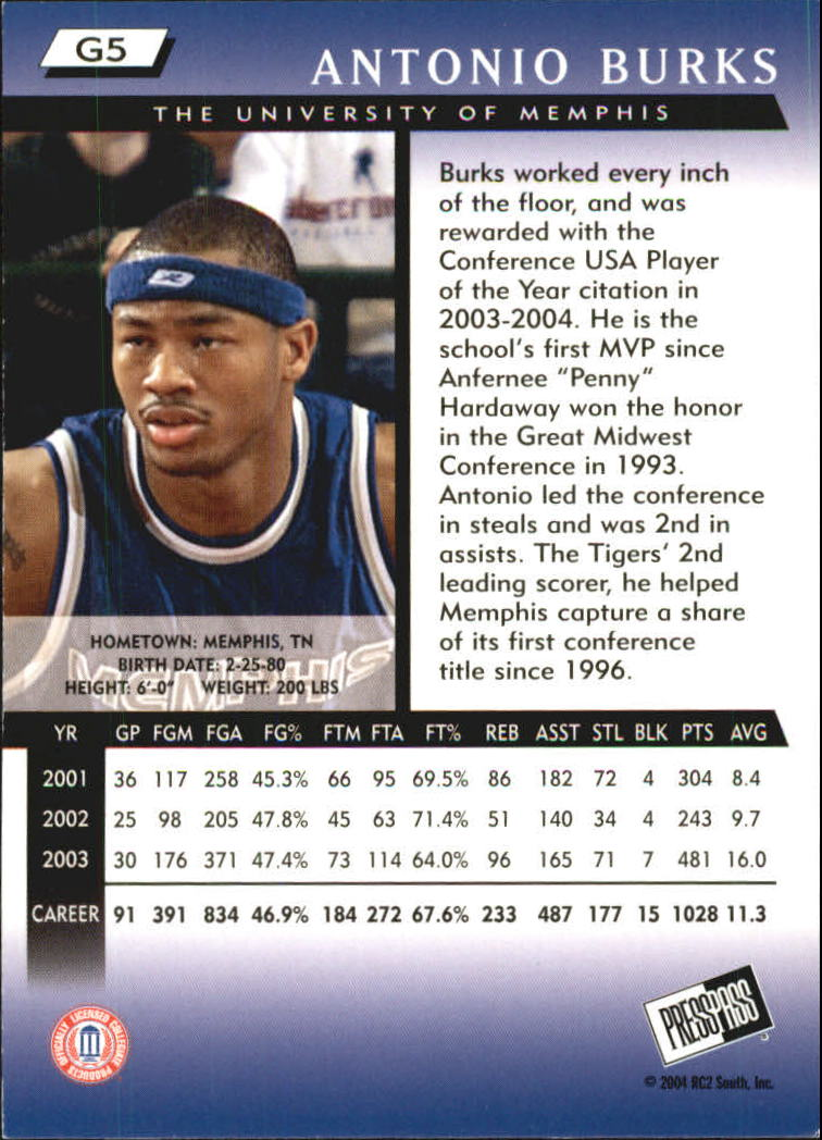 2004 Press Pass Gold #5 Antonio Burks back image