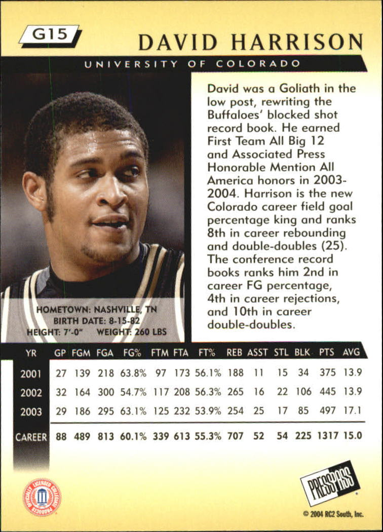 2004 Press Pass Gold #15 David Harrison back image