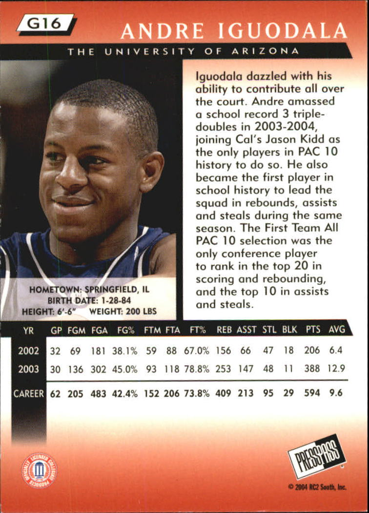 2004 Press Pass Gold #16 Andre Iguodala