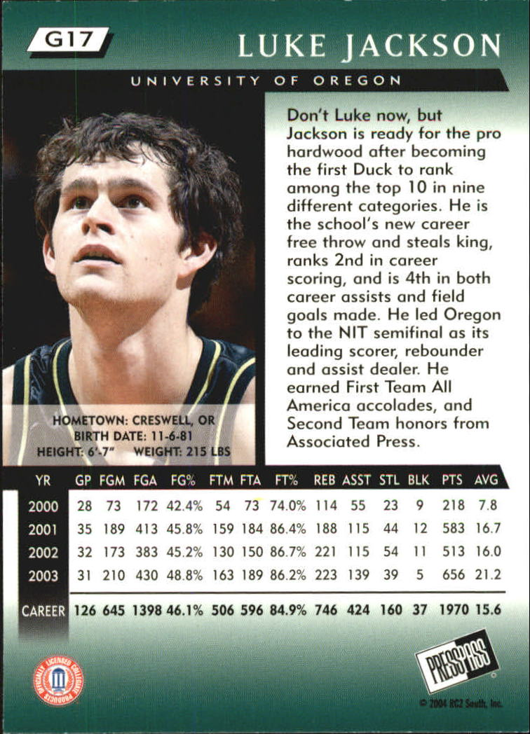 2004 Press Pass Gold #17 Luke Jackson back image