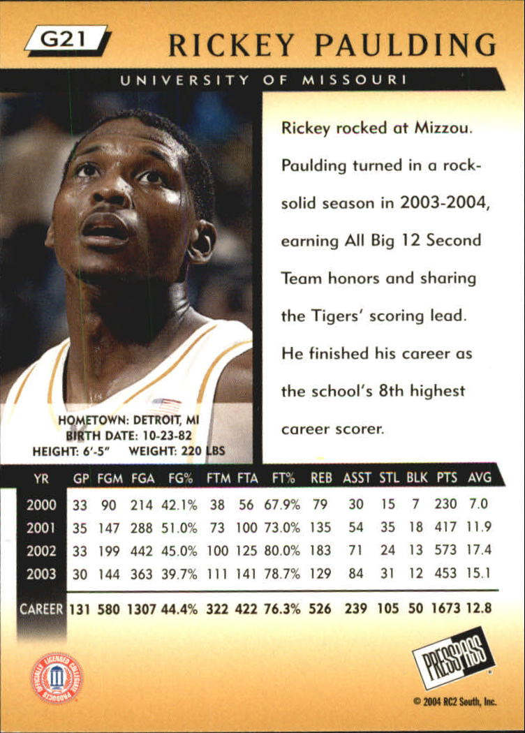 2004 Press Pass Gold #21 Rickey Paulding back image