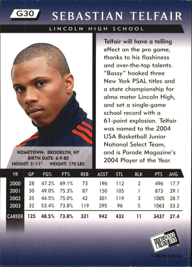 2004 Press Pass Gold #30 Sebastian Telfair