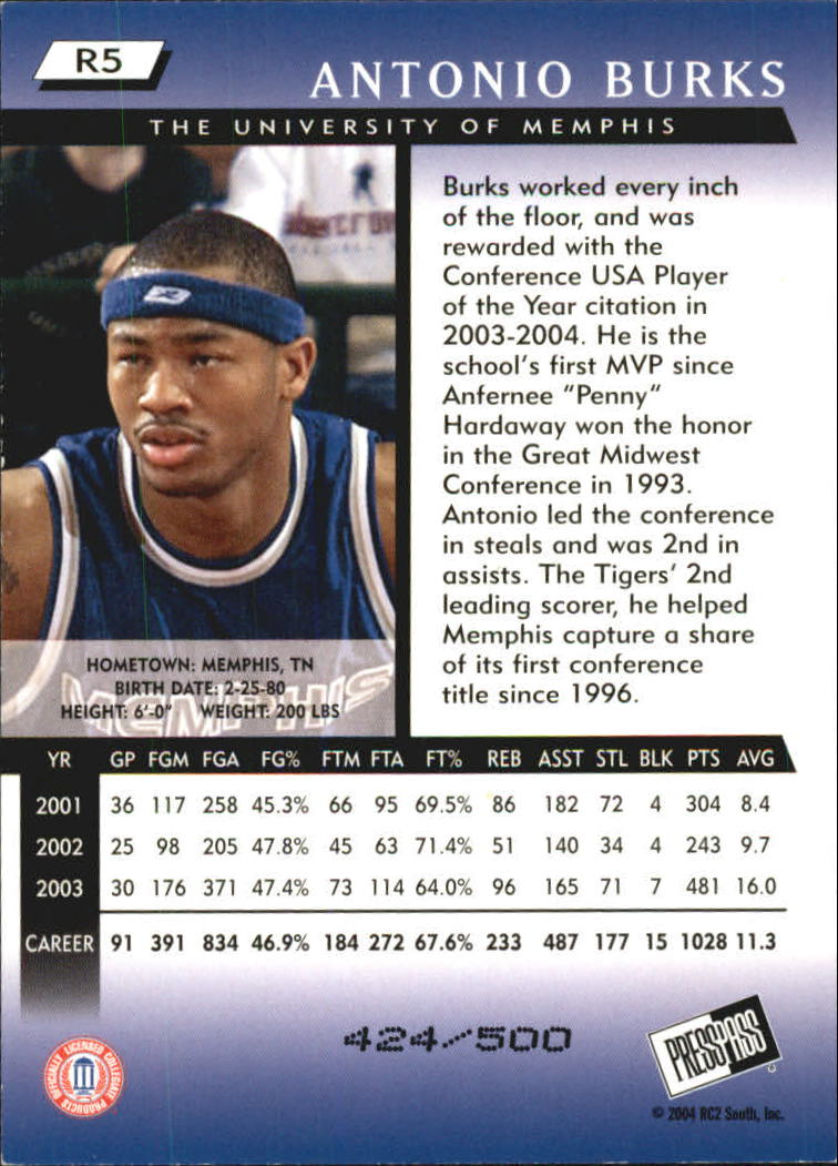 2004 Press Pass Reflectors #5 Antonio Burks back image