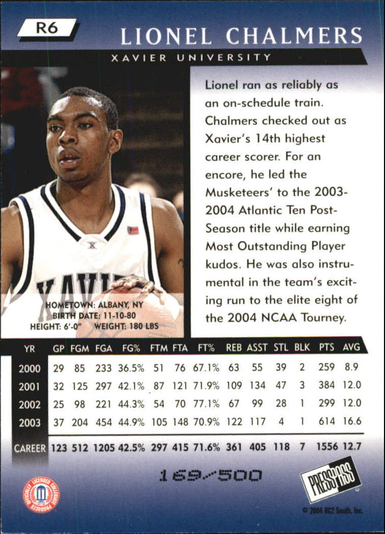 2004 Press Pass Reflectors #6 Lionel Chalmers back image